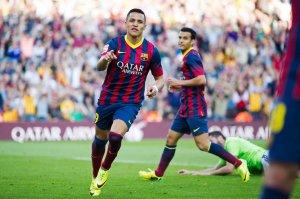 Barça 7-0 Osasuna Alexis celebrates goal 2014