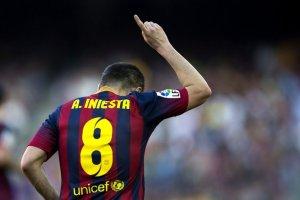 Barça 7-0 Osasuna Iniesta celebrates goal 2014
