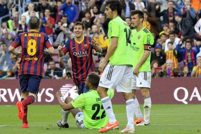 Barça 7-0 Osasuna Iniesta Messi 2014