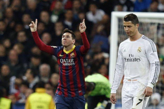 Real Madrid 3-4 Barça Leo Messi celebration Cristiano Ronaldo 2014