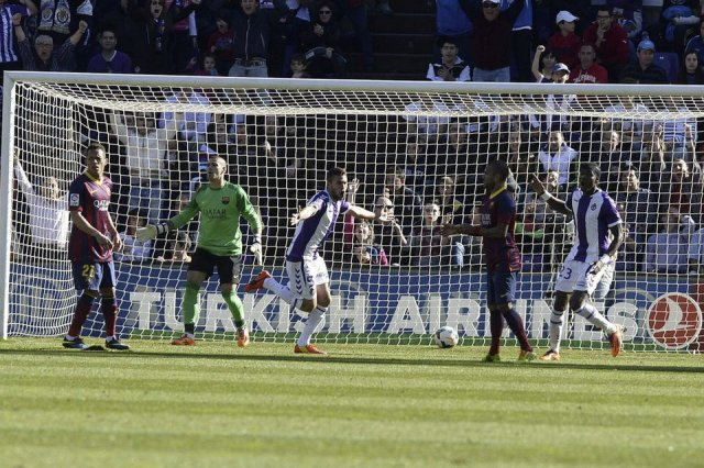 Valladolid 1-0 Barcelona Rossi goal 2014