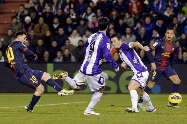 valladolid 1-3 barcelona messi scores second goal