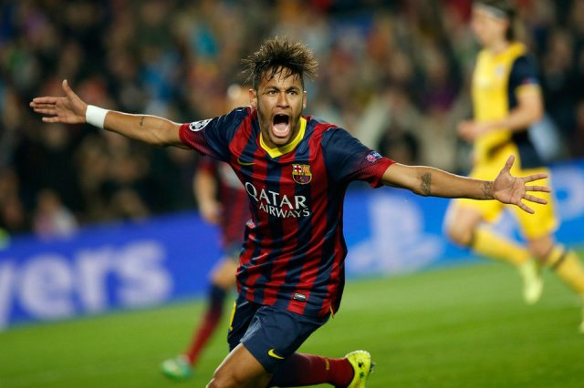 Barça 1-1 Atletico Madrid Neymar celebrates goal Champions League quarter final 2014