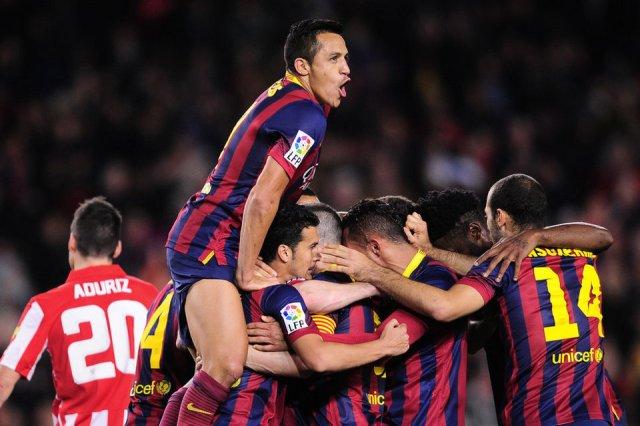 Barça 2-1 Athletic goal celebration 2014