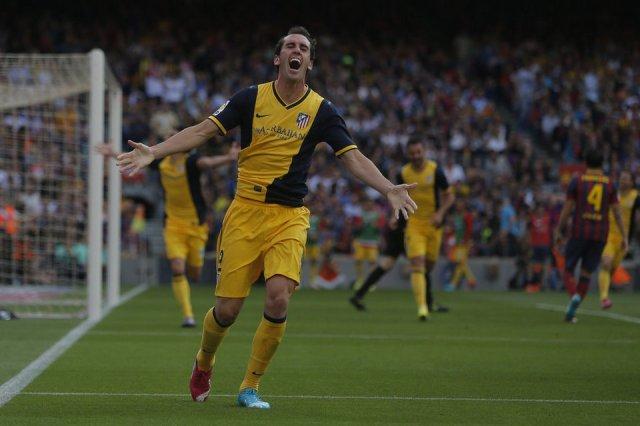 Barça 1-1 Atlético Godin goal celebration 2014
