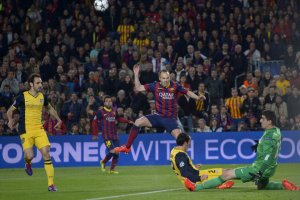 Barça 1-1 Atletico Madrid Iniesta shot Godin block Champions League quarter final 2014