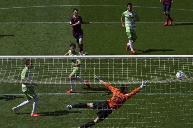 Barça 2-2 Getafe Messi scores first goal 2014