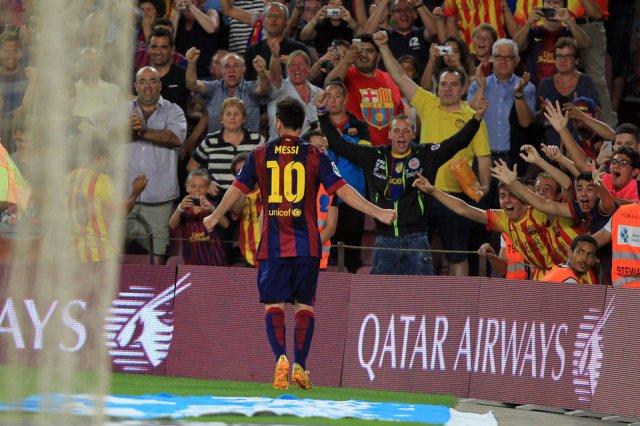 Barça 3-0 Elche Messi celebrates goal 2014