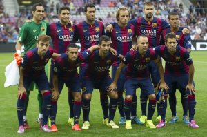 Team photo Barça Napoli 2014