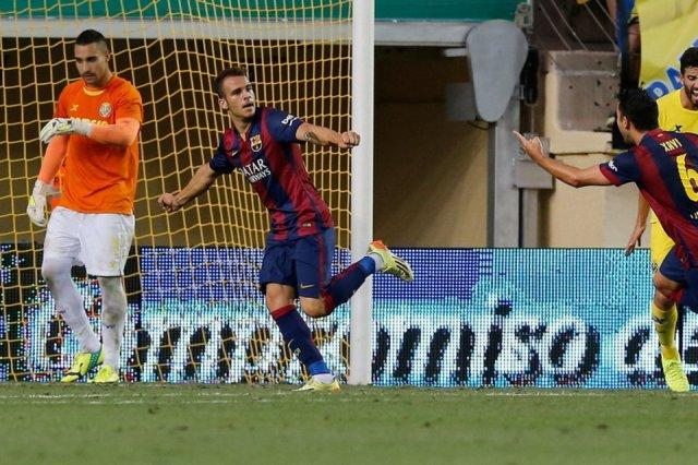 Villarreal 0-1 Barcelona Sandro Ramírez celebrates winning goal 2014