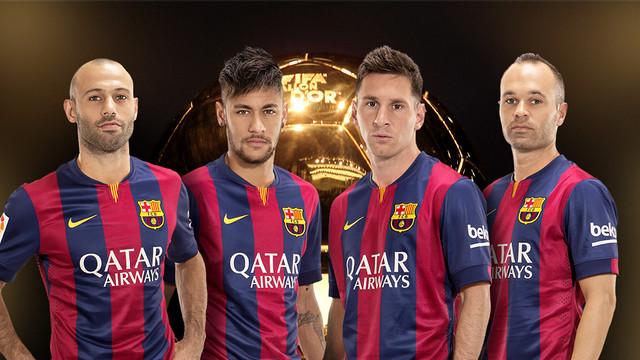 Ballon d'or 2014 Mascherano Neymar Messi Iniesta