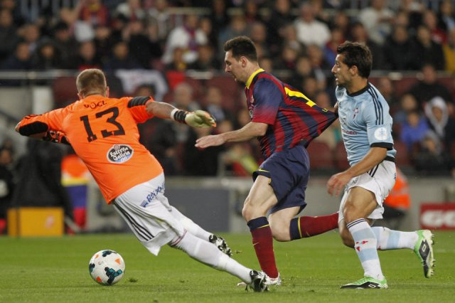 Barça 3-0 Celta Messi about to score