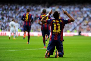 Madrid 3-1 Barça Neymar goal celebration 2014