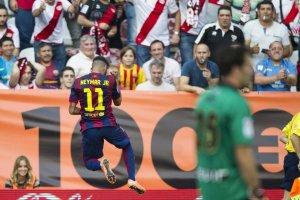 Rayo 0-2 Barça Neymar celebrates goal 2014