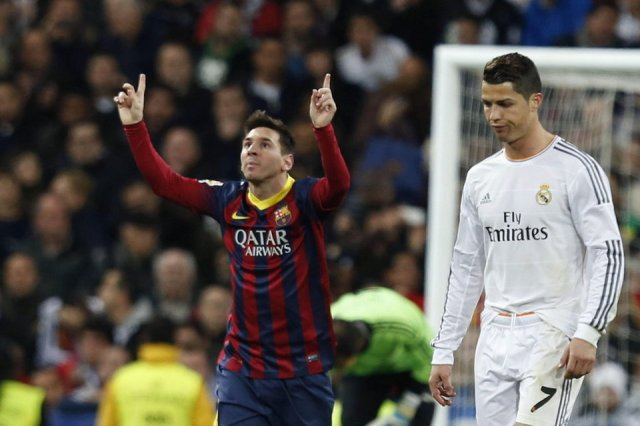 Real Madrid 3-4 Barça Leo Messi celebration Cristiano Ronaldo 2014