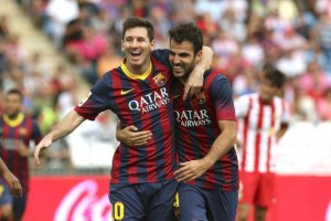 Almeria 0-2 Barcelona Messi goal celebration 2013