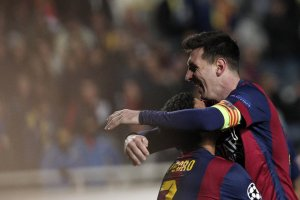 Apoel 0-4 Barça Messi celebrates hat-trick goal 2014