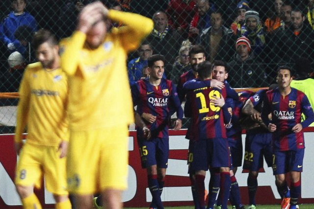 Apoel 0-4 Barça Messi goal celebration 2014