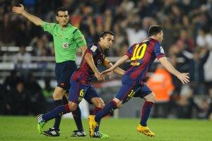 Barça 5-1 Sevilla Messi Xavi celebrates goal 2014