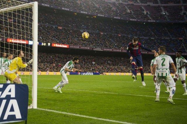 Barça 5-0 Cordoba Piqué goal 2014