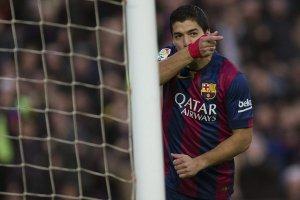 Barça 5-0 Cordoba Suarez celebrates goal 2014