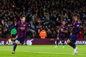 Barça 5-1 Espanyol Messi celebrate second goal