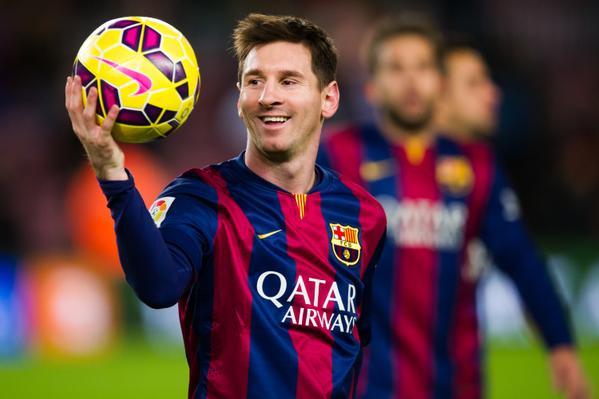Barça 5-1 Espanyol Messi hat-trick match ball 2014