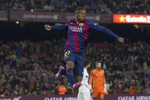Barça 8-1 Huesca Adama celebrates golazo