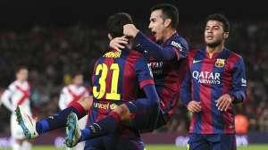 Barça 8-1 Huesca Pedro celebrates goal