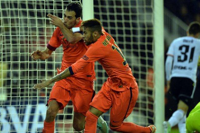 Valencia 0-1 Barça Busquets goal celebration Neymar 2014