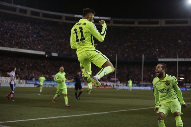 Atlético 2-3 Barça Neymar celebration 2015