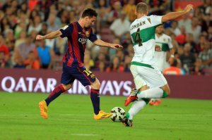 Barça 3-0 Elche Messi first goal 2014