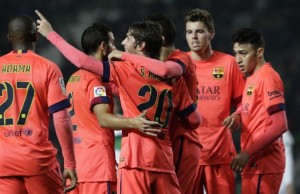 Elche 0 Barça 4 Sergi Roberto goal celebration copa del rey 2015