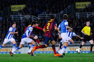 Real Sociedad 3-1 Barcelona Messi goal 2014
