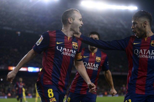 Barça 3-1 Villarreal Iniesta goal celebration 2015