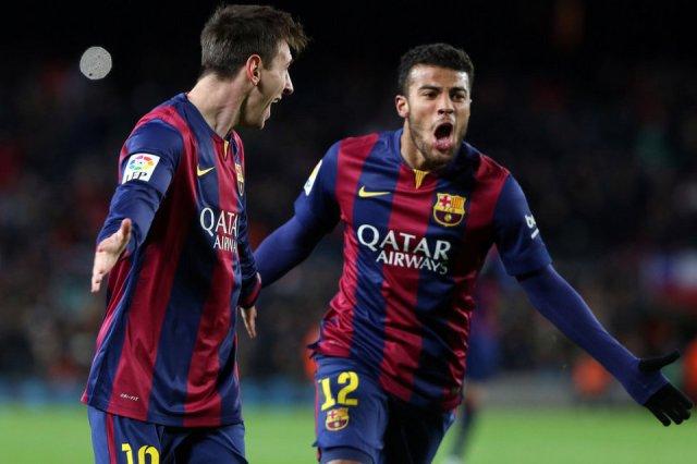 Barça 3-2 Villarreal Rafinha celebration 2015