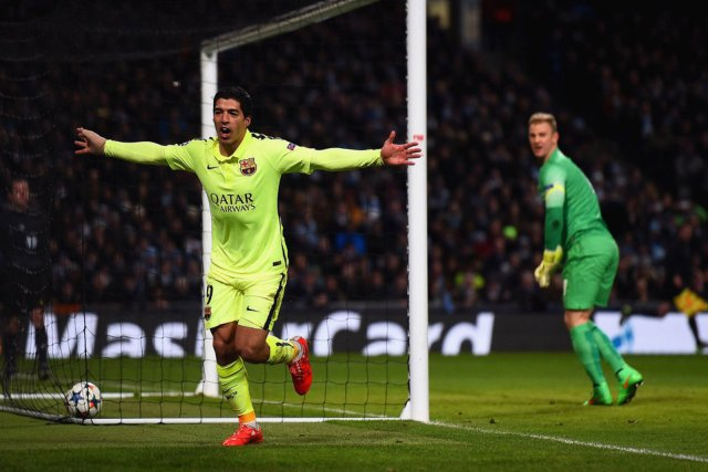 Man City 1-2 Barça Suarez celebration 2015