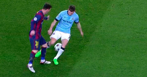 Barça 1-0 Man City Messi nutmeg on Milner 2015