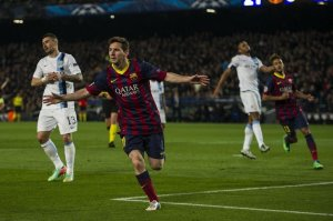 Barça 2-1 Man City Messi goal celebration 2014
