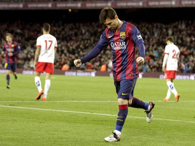 Barça 4-0 Almeria Messi goal celebration 2015