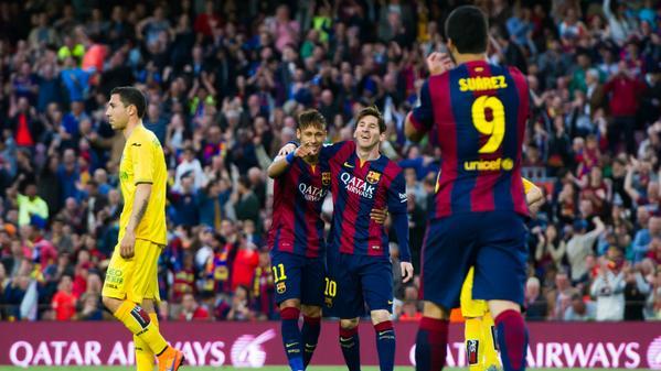 Barça 6-0 Getafe Suarez Neymar Messi 2015
