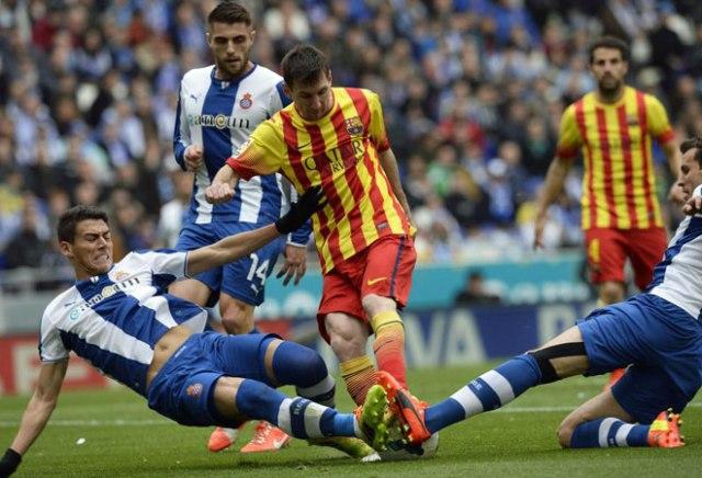 Espanyol 0-1 Barça Messi stopped 2014