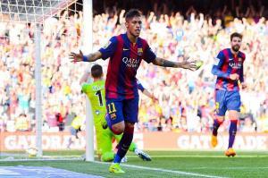 Barça 2-0 Real Sociedad Neymar celebrates goal 2015