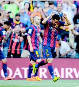 Barça 2-0 Real Sociedad Pedro celebrates overhead kick goal 2015