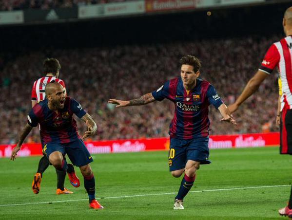 Copa del Rey Final 2015 Leo Messi goal celebration