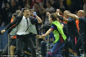 Champions League Final 2015 Luis Enrique celebrates Neymar goal