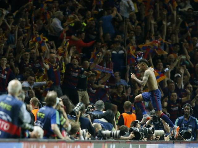 Champions League Final 2015 Neymar goal celebration