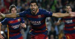 Barça 2-1 Bayer leverkusen Luis Suarez goal celebration 2015