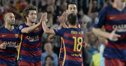 Barça 2-1 Bayer leverkusen Sergi Roberto goal celebration 2015