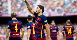 Barça 2-1 Las Palmas Luis Suárez celebrates goal 2015